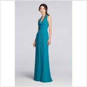 David's Bridal Formal Maxi Dress Teal Grean 8 NEW